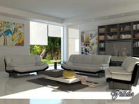 living room 3d c4d