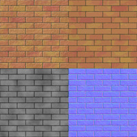Brick wall seamless generated hires texture (with diffuse, bump and normal map)