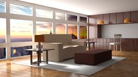 free room home architecture 3d model
