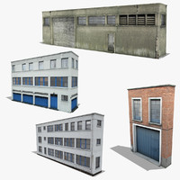 industrial building facade set 3d obj