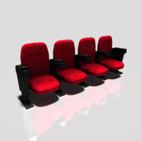 movie seats 3d obj