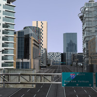 modern city buildings 3d model