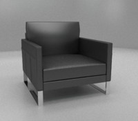 3ds max black leather chair