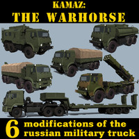 3d model russian kamaz trucks