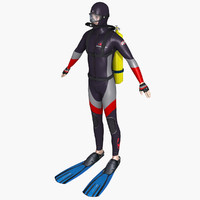 scuba diver 3d fbx