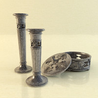 classic candlestick ashtray 3d model