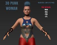 futuristic punk woman animation max