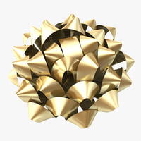 gold gift bow 3d 3ds