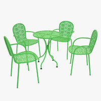 photoreal steel mesh table chair max