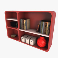 modern bookshelf furniture books 3d model