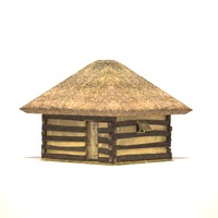 Low poly medieval Hut