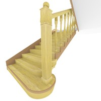 free wooden staircase 3d model