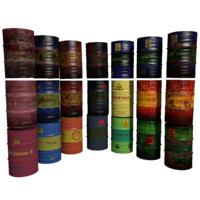 set barrels 3d 3ds