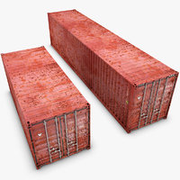 3d model container 20ft 40ft old