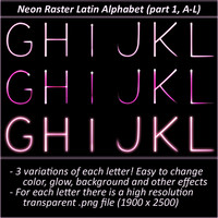 Neon Raster Latin Alphabet (Part 1, Letters A-L)
