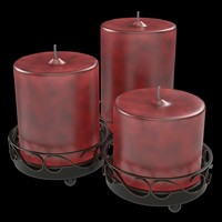 3d model red candle set