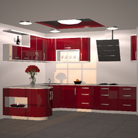 kitchen furniture red 3ds