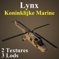 3d agustawestland lynx nrn helicopter model