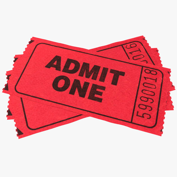 Tickets admit one ticket admission paper vray entry admittance