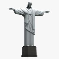 cristo redentor statue 3d max