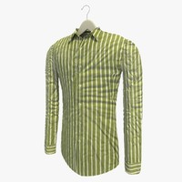 3d model stripe green shirt hanger