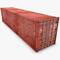 realistic container 40ft old 3d obj