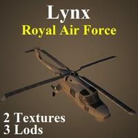 agustawestland lynx raf helicopter 3d model
