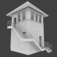 railroad tower interior 3d obj