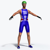 triathlon cyclist 3d max