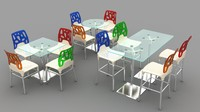 3d model modern chair table