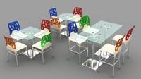 3d model modern chair table