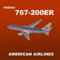 boeing 767-200er american airlines 3d model
