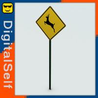 3d deer crossing sign