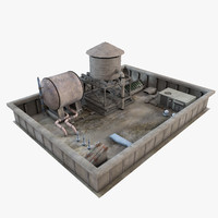 3d industrial rooftop environment roof model