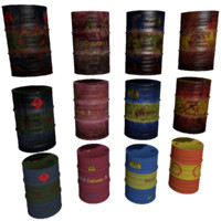 3d model set oil barrels