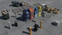 nyc street items trash 3d fbx