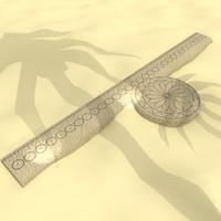 ancient egyptian protractor 3d fbx