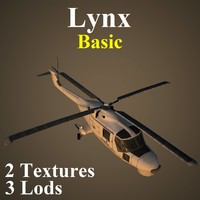agustawestland lynx basic helicopter 3d model