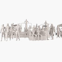 man figure set woman 3d 3ds