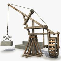 3d wooden crane medieval