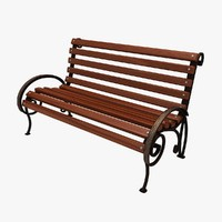 3d model forged park bench 1 wood