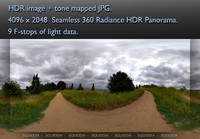 DIRT ROAD THROUGH OVERCAST SPRING MEADOW 360 HDR PANORAMA #272