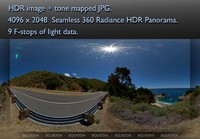 PACIFIC COAST HIGHWAY AT BIG SUR CALIFORNIA 360 HDR PANORAMA #477
