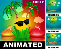 3d model scenes animation palm tree