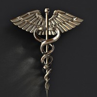 free medical caduceus symbol 3d model