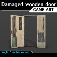 Damaged wooden door