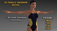 3d model animation swimming loop