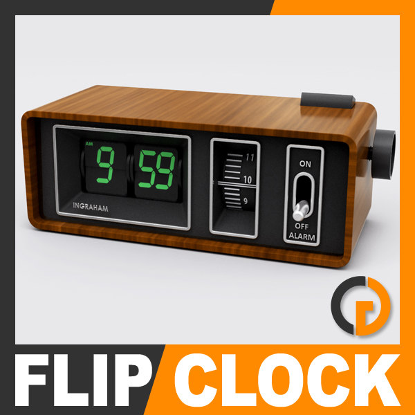 retro style alarm flip clock 3d model. Black Bedroom Furniture Sets. Home Design Ideas