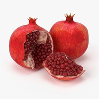 realistic pomegranate fruit real obj
