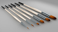 art brush set 3d obj